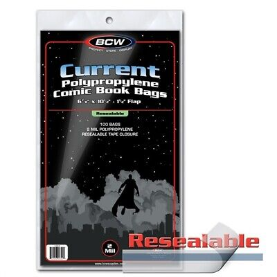 Pack of 100 BCW RESEALABLE Current Comic Book Poly Bags -Archival Safe Acid Free