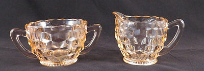 Vintage American Fostoria Pink Depression Glass Cream Pitcher Sugar Bowl Set