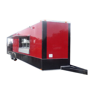 BBQ Concession Trailer 8.5' x 26' Red and Black - Smoker Enclosed Kitchen Restro