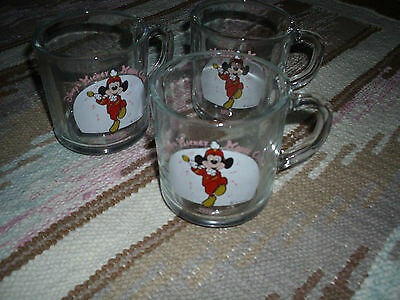 "Set of 3 ""Marching"" Mickey Mouse Club 1955 Anchor Hocking Coffee / Tea Cups"