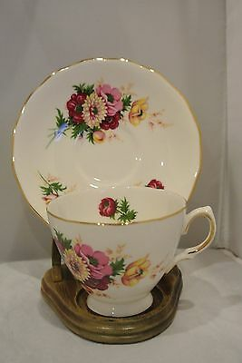 Royal Osborne Cup & Saucer ~ Pink & Yellow Flowers Made in England