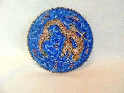 (#1)  Antique JAPANESE NIPPON Hand Painted Blue Satsuma Moriage Dragonware PLATE