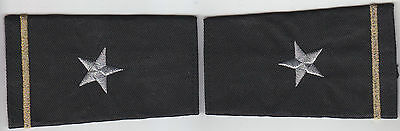 2 Police Epaulet 1 Silver Star/Gold Bar Chief/Deputy Shoulder Boards Black-small