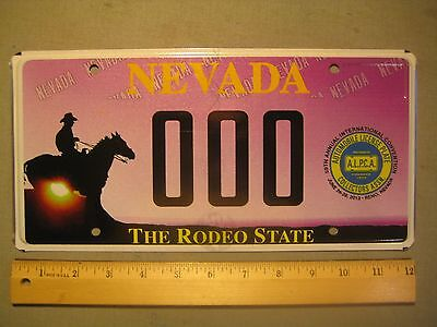 License Plate, Nevada, ALPCA, Horse & Cowboy, Motto: The Rodeo State