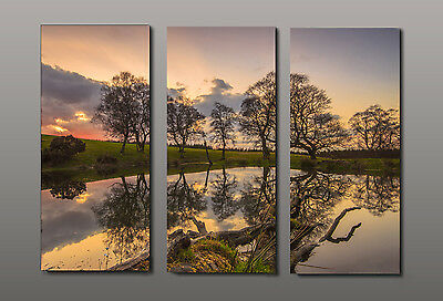 Canvas Print Sunset Lake Picture Printed on canvas 12X28 Inches Set of 3