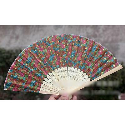 New Chinese Bamboo Folding Lace Surface HAND FAN with Flower Wedding Party Gift