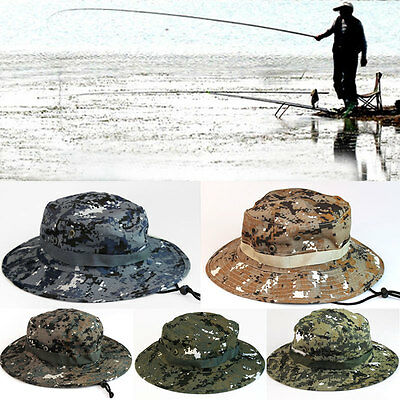 Men Army Camo Boonie Sun Hat Cap Minitary Fishing Hiking Hunting Outdoor Caps