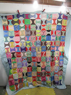 Vintage Hand Sewn Bow Tie Pattern Quilt Top Only Bright Colors