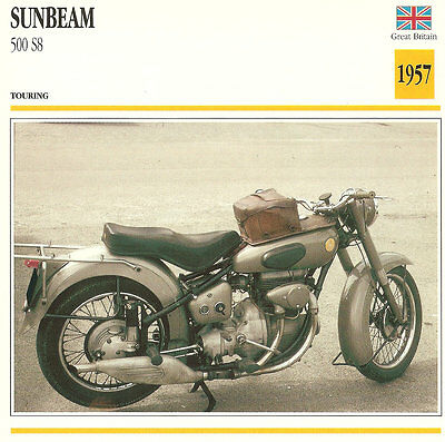 Vintage 1957 Sunbeam 500 S8 Touring Great Britain Motorcycle Photo/Trading Card