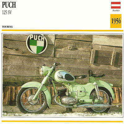 Vintage 1956 Puch 125 SV Touring Motorcycle Atlas Edition Photo/Trading Card WOW