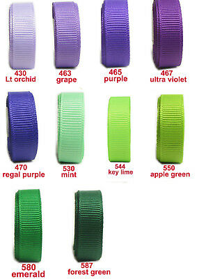 "25y 50y 38mm 1 1/2"" Lilac Purple Green Shades Premium Grosgrain Ribbon Eco Craft"