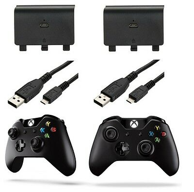 2x RECHARGEABLE BATTERY PACK 1200MAH AND USB CHARGE CABLE FOR MICROSOFT XBOX ONE