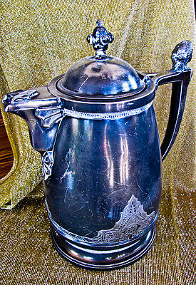 simpson hall miller antique silver electroplate ornate water pitcher FREE SHIP