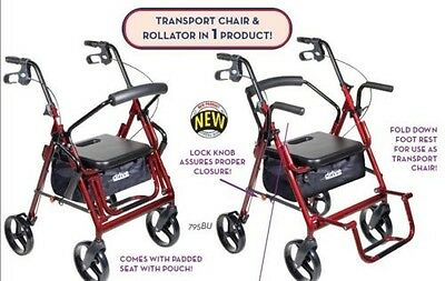 Drive Medical Duet Transport Wheelchair Rollator Walker, In 3 Colors!