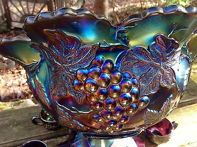 CARNIVAL MAGNIFICENT PURPLE MANY FRUITS PUNCH BOWL SET. ELECTRIC IRIDESCENCE