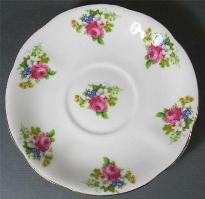 Vintage Royal Standard English bone china saucer pink floral spray/gilt rim chic