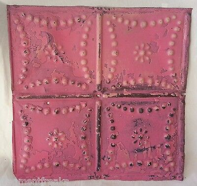 """12"""" x 12"""" Antique Tin Ceiling Tile *SEE OUR SALVAGE VIDEOS* Tropical Pink Aa13"""