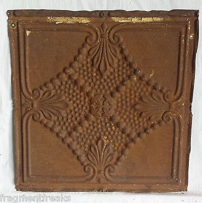 "12"" x 12"" Antique Tin Ceiling Tile *SEE OUR SALVAGE VIDEOS* Vintage Rust Mn22"