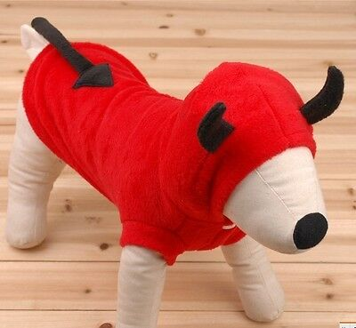 Pet Puppy Clothes RED Mounted demon turned Dog Hoodie Coat Clothes L 03