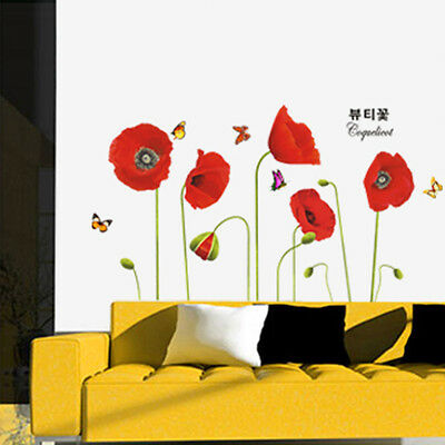 Flowers Corn Poppy Wall decals Stickers Home Decoration Art Vinyl Decal Mural
