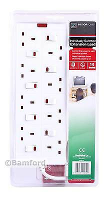 Masterplug Individually Switched Extension Lead 8 Socket/Gang 2m 13A Mains Power
