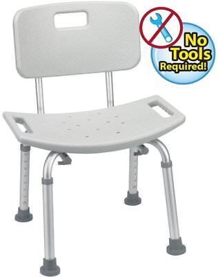 Tool-Free Assembly Bathtub Adjustable Shower Chair Seat Bench w/Removable Back