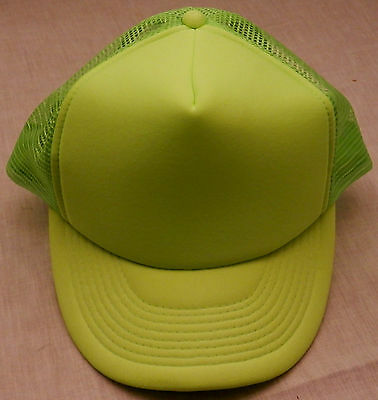 FLOURESCENT LIME GREEN SAFETY Baseball Mesh Cap traffic/crossing guard/police