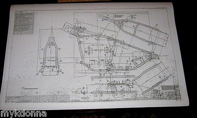 HARLEY DAVIDSON Hard Tail Frame Blueprint Drawing poster print hardtail panhead