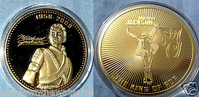 Michael Jackson Coin Gold Music Autograph Signature George Elvis Whitney Houston