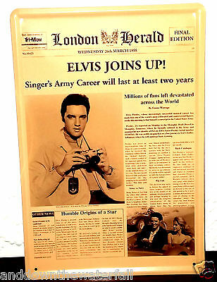 Large Metal Elivs Presley Vintage Newspaper Sign Old Antique US Army Vietnam USA