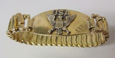 Antique Gold Filled Sterling American Eagle Sweet Heart Expandable Bracelet