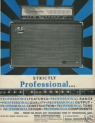 """1966 WMI Corp. TEISCO Del Rey Checkmate 50 """"Strictly Professional"""" Amplifier Ad"""