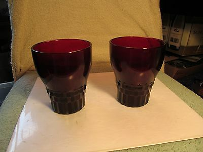"Nice 4"" tall pair of ruby red glass drinking tumblers."