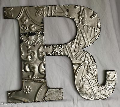 "Large Antique Tin Ceiling Wrapped 16"" Letter 'R' Patchwork Metal Mosaic Silver"