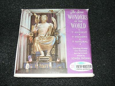 Complete 3 Reel VIEMASTER Set The SEVEN WONDERS OF THE WORLD w Booklet & Sleeve
