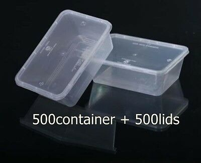 1000 Pieces 500 ml rectangular plastic take away container and lids (500pairs)