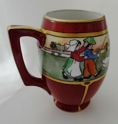 ANTIQUE HAND PAINTED AUSTRIAN PORCELAIN  PITCHER WITH GEESE SIGNED A. CASSILLY