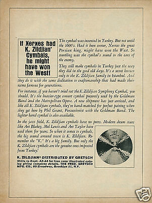 """1964 """"If Xerxes Had K. ZILDJIAN Cymbals, He Might Have One the West"""" Original Ad"""