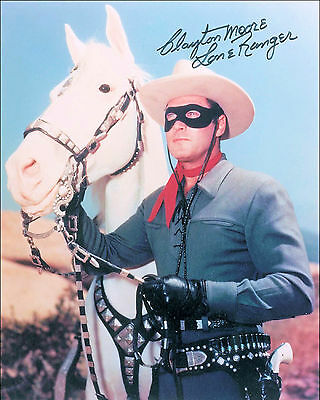 "10""x8"" PHOTO PRINTED AUTOGRAPH - CLAYTON MOORE d"