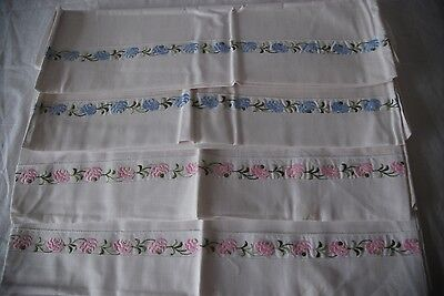 4 x WHITE COTTON EMBROIDERY PILLOW CASES - UNUSED  #2297pp