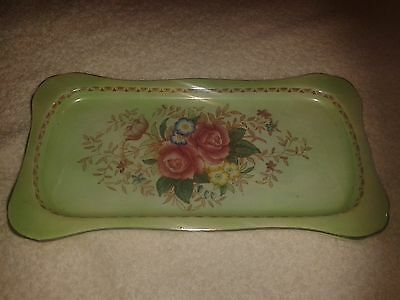 "**LOOK** Lovely Antique Maling ""Rosalind"" Floral Dish Plate"