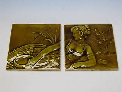 Trent - Woman Decorated - Set of 2 Tiles - 6 by 6 inches