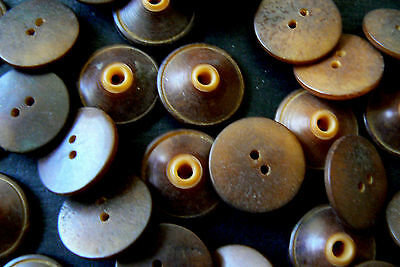 Lot of 28 VTG Antique Vegetable Ivory Whistle Buttons Brown Tan Mix Color Match