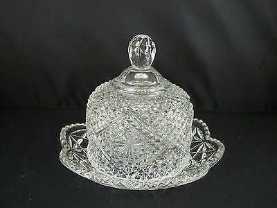Avon Crystal Small Round Covered Butter Dish - AVC6