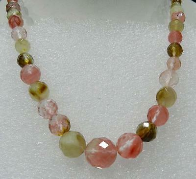 Faceted 6-14mm Watermelon Tourmaline Gems Round Beads Necklace 18""