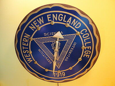 Vintage 1950s WESTERN NEW ENGLAND COLLEGE Wall Clock