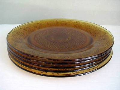 """Amber Indiana Glass DAISY No. 620 2 9 3/8"""" Dinner Plates Plate"""
