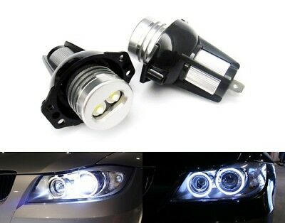 2x BMW E90 E91 3 Series Angel Eye Halo Ring LED Light 6W Marker Bulb Xenon White