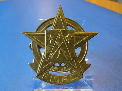 """F.I.G.P.C. BRASS BADGE """"SERVIR""""  CONGRESS ON THE FRENCH LANGUAGE IN CANADA"""