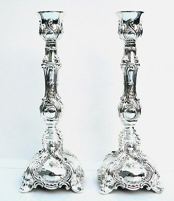 "Elegant Shabbat Candlesticks Silver Tone Candle Holders,Shabbos Light 6.7""/ 17cm"